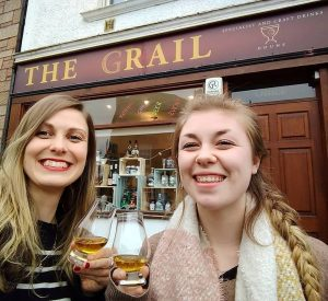 Jen and Rachel Whisky Tasting at the Grail in Doune, Central Scotland